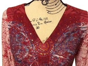 One World Sequins Long Sleeve Top Crimson