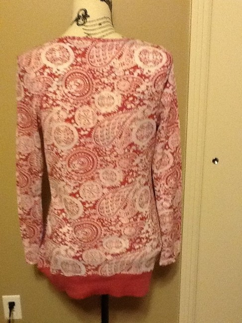 One World Sequins Long Sleeve Comfortable V Neck Lightweight Top Crimson