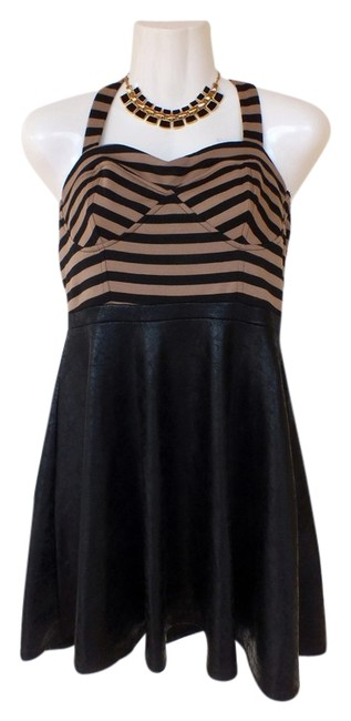 Preload https://img-static.tradesy.com/item/3427618/charlotte-russe-tan-black-new-faux-leather-mid-length-night-out-dress-size-8-m-0-0-650-650.jpg