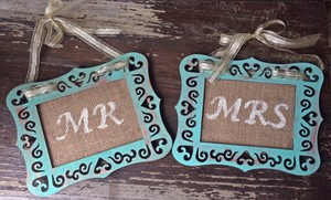 Distressed Patina Mr. and Mrs. Chair Signs Reception Decoration