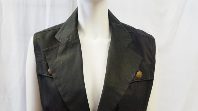 Saint Laurent YVES SAINT LAURENT YSL 2 PC SET BLACK VEST TAUPE HIGH WAISTED PANTS