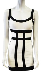 Hervé Leger New Nerina Colorblock Black Dress