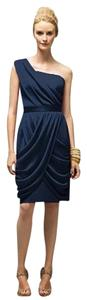 Lela Rose Tea Length One Shoulder Chiffon Blue Dress