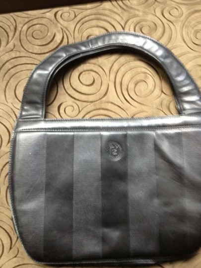Fendi Made In Italy Monogram On Front Vintage Chanel Louis Vuitton Black leather Clutch