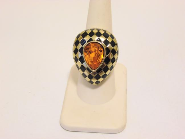 "Item - Tangerine ""Check Mate"" Crystal and Enamel 8 Ring"