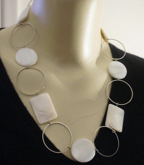 Other L.E. ImmI Mother of Pearl Geometric Chain Runway Necklace