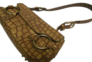 Adrienne Vittadini Reptile Snake Alligator Crocodile Genuine Leather Real Leather Bronze Metallic Golden Buckles Clutch Satchell Baguette