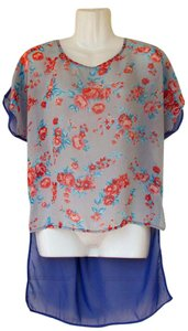 Lush Flowers Oversize Flowy High Low Chiffon Top grey, blue, orange red