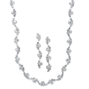 Mariell Silver Wavy Rhinestone and Earrings Set 883s Necklace