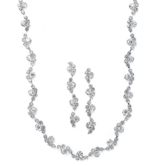 Mariell Wavy Rhinestone Necklace And Earrings Set 883s