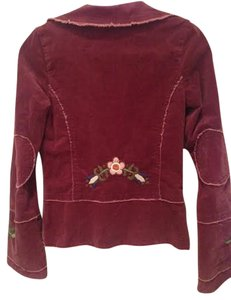 Joystick Blazer Flowers Embroidered Button Down Shirt Maroon