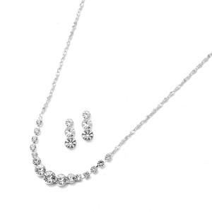 Mariell Dainty Crystal Rhinestone Bridesmaid Or Prom Necklace Set 1053s
