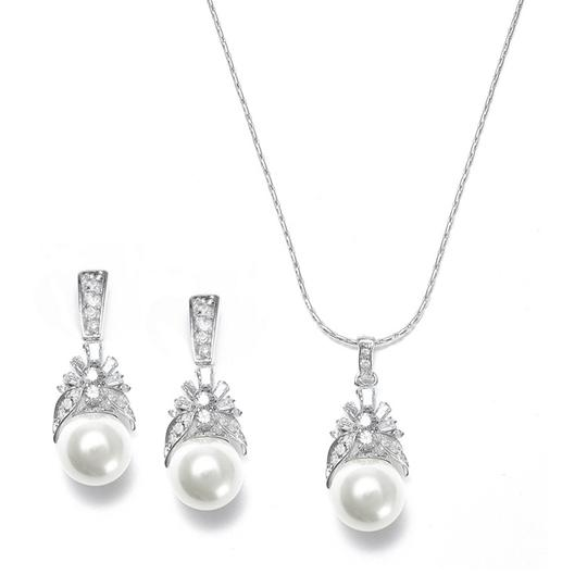 Mariell Pearl And Cz Baguettes Necklace Set 261s