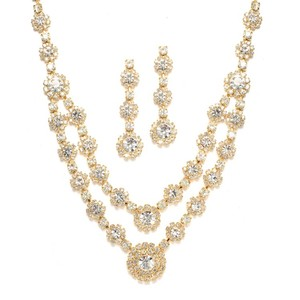 Mariell Gold Regal Two Row Rhinestone Neck Set 3228s-cr-g Necklace