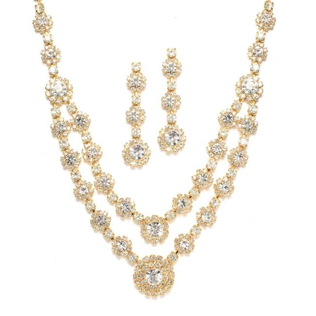 Item - Gold Regal Two Row Rhinestone Neck Set 3228s-cr-g Necklace