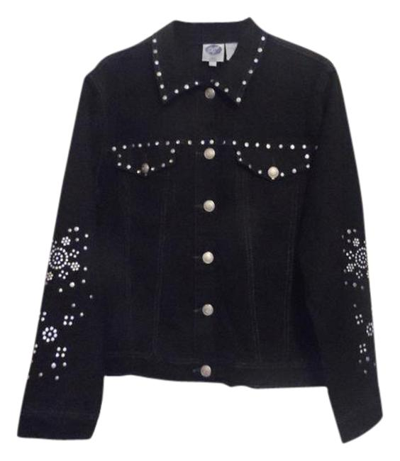 Preload https://img-static.tradesy.com/item/3429511/dg2-by-diane-gilman-black-embellished-large-denim-jacket-size-14-l-0-2-650-650.jpg