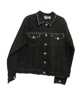 DG2 by Diane Gilman Black Womens Jean Jacket