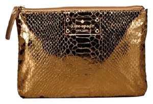Kate Spade Metallic Embossed Bronze Clutch