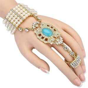 Elegantly Chic Art Deco Gatsby 1920's Inspired Gold Tone Crystal Accent Turquoise Stone Pearl Handchain Stretchable Bracelet and Ring