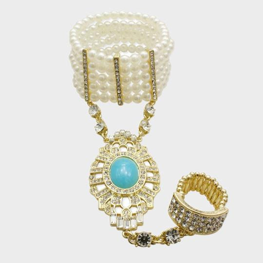 Other Elegantly Chic Art Deco Gatsby 1920's Inspired Gold Tone Crystal Accent Turquoise Stone Pearl Handchain Stretchable Bracelet and Ring