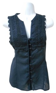 Express Lace Crochet Button Up Studio Design Studio Small S Sm 4 6 Shirt Dressy Light Cool Layers Top Black