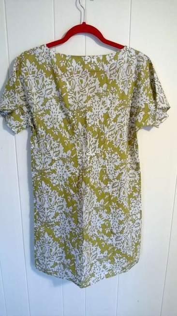 Collective Clothing short dress yellowy green, white, with brown ribbon on Tradesy