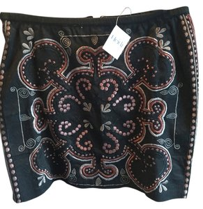 Chan Luu Mini Skirt black/ multi embroidery
