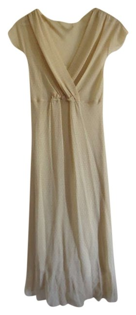Item - Light Yellow Pink Chiffon Flowy Capped Sleeves V-neck Knee Length Work/Office Dress Size 8 (M)