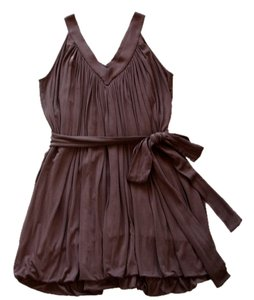 BCBGMAXAZRIA Gathered Pleated V-neck Tie-waist Tunic Short Mini Casual Dress
