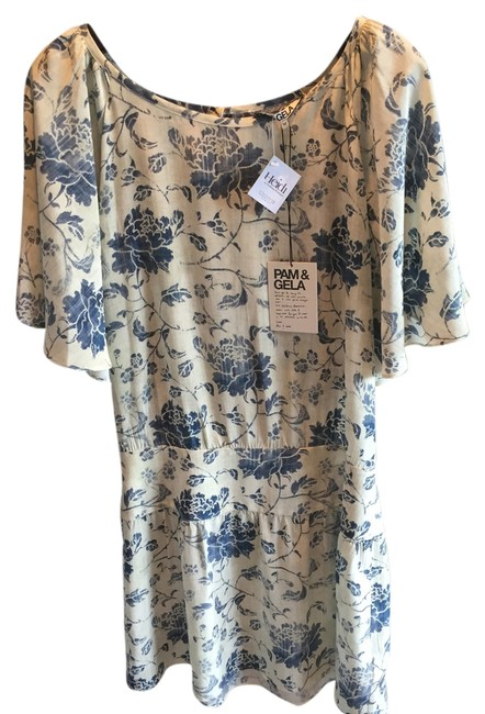 pam and gela short dress cream with blue floral on Tradesy