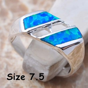 Silver Blue Fire Opal Fashion Ring Free Shipping