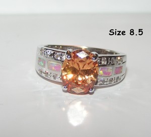 Champagne Topaz Opal Silver Fashion Ring Free Shipping
