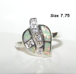 White Topaz Fire Opal Silver Fashion Ring Free Shipping