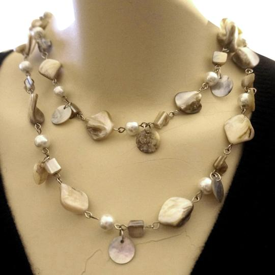 Other Classic 2 Strand Mother of Pearl Dangle Necklace
