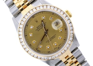 Rolex ROLEX DATEJUST GOLD SS WATCH MIDSIZE 31 MM 2 CT DIAMONDS
