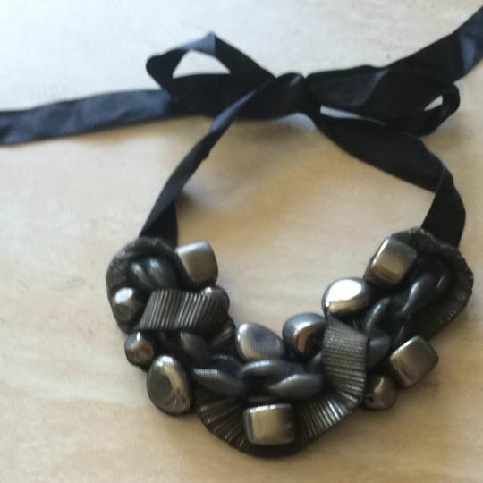Other Necklace W/ Silver Chain & Stone Shaped Beads In Black Mesh