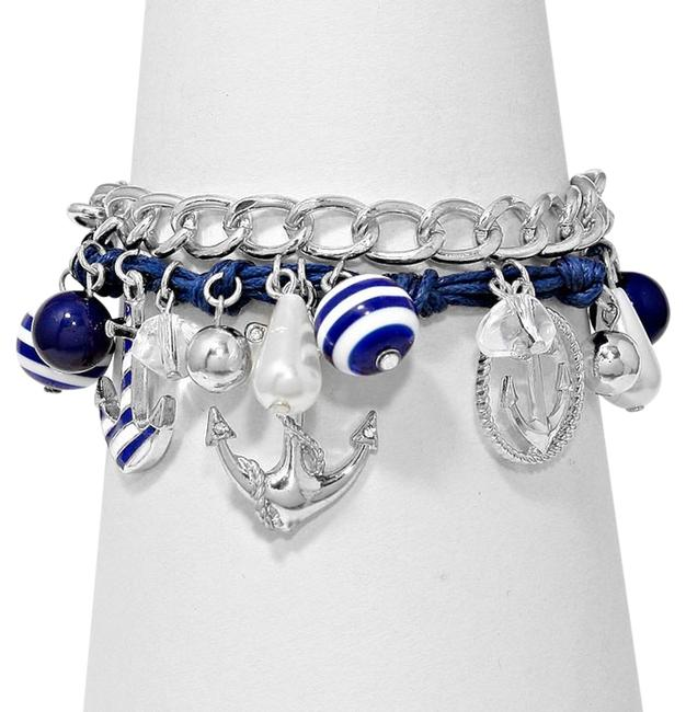 White Blue Rhodium Clear Crystal Anchor Charm Silver Tone Accent Stretchable Pearl Bracelet White Blue Rhodium Clear Crystal Anchor Charm Silver Tone Accent Stretchable Pearl Bracelet Image 1