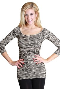 Nikibiki Zebra Animal Print 3/4 Sleeve Top Beige