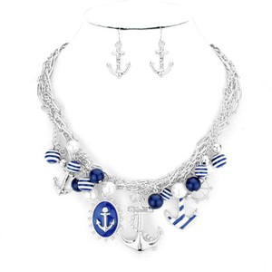 Nautical By The Sea Silver Tone Rhodium Multichain Crystal Accent Pearl Drops Anchor Charm Necklace And Earring