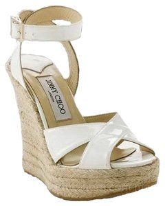 Jimmy Choo Patent Leather Espadrille Strappy White Wedges