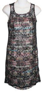 Hem & Thread short dress Color-blocking Print Black Black Lace Sheer See Through Sleveless Zipper Cute Adorable Affordable Forever 21 H&m Natural on Tradesy