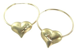 10KT YELLOW GOLD EARRINGS HOOPS HEART 2.6 GRAMS FINE JEWELRY CUTE LOVE HOOP