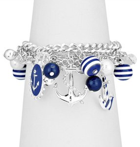 Nautical By The Sea Silver Tone Rhodium Multichain Crystal Accent Pearl Drops Anchor Charm Bracelet