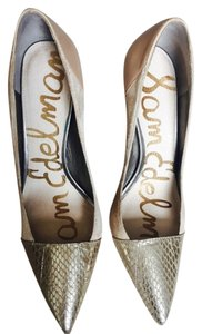 Sam Edelman Leather Snakeskin Nude, Zinc/Gold Pumps