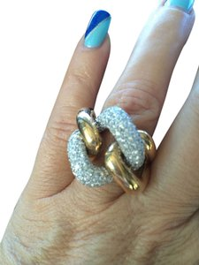 Italian fine jewelry Italian Fine Jewelry 14k Yellow/White Gold Diamonds Pave Large Link Ring