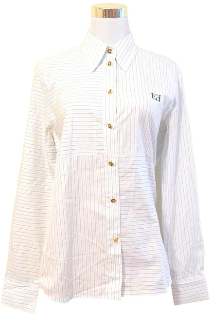 Escada Striped Pinstripe Classic Gold Hardware Button Down Shirt White