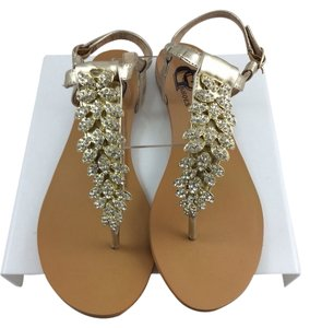 GC Shoes Decorative Flat Bling Gold Jewels Fancy Formal Leaves Straps Size 8.5 8.5 Gold-Leaves-Bling Sandals