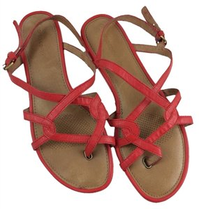 Ballasox by Corso Como Flat Straps Faux Leather Comfy Comfortable Size 9.5 9.5 Casual Red Sandals
