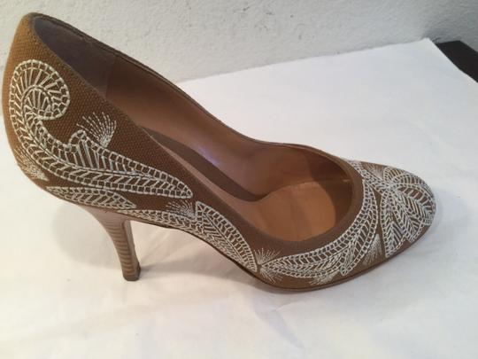 Sergio Rossi Lining Soles Made Brown and white fabric and leather gorgeous topstitching Italian E35.5 Pumps