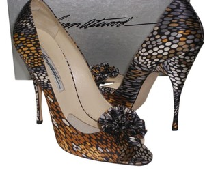 Brian Atwood Black Gray Bronze Multi Color Pumps